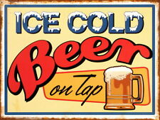 Ice Coold Beer On Tap Retro metal Aluminium Sign vintage bar pub beer signs cave