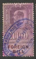 Edward VII - £1 10s. - Lilac - Foreign Bill - Good Used,