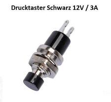 Drucktaster Schwarz max 12 Volt / 3 A - Gewinde M7 - Knopf 6 mm - 2 Lötfahnen