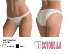 3 Slip Tanga Donna Vita bassa in cotone Elasticizzato Cotonella Art.3161 2/s Bianco