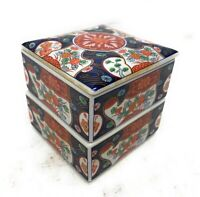 VINTAGE JAPANESE PORCELAIN Ceramic STACKING TRINKET BOX 2 TIERS