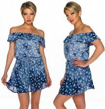 Damenkleider mit Carmen-Ausschnitt aus Baumwolle für den Sommer