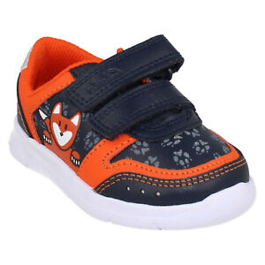BOYS CLARKS ATH DOT TODDLER HOOK & LOOP CASUAL LEATHER TRAINERS FOX SHOES SIZE