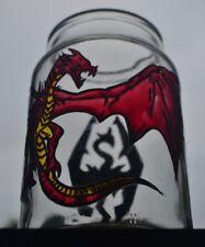 Único, pintado a mano Skyrim dragon sostenedor de vela, Tarro, Gamer Regalo O Decoración