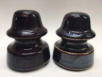 Lot of 2 Ceramic Insulator, Pinco, Brown Glaze, Vintage Electric Insulators #4