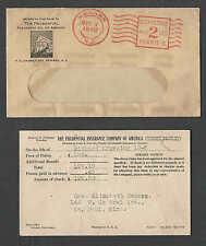 DATE 1930 COVER NEWARK NJ PRUDENTIAL INSURANCE CO W/LOGO & INVOICE