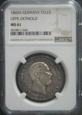 1860-A Lippe Detmold Germany German States Silver Taler Thaler NGC MS61