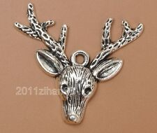 10pcs Tibetan Silver Deer Head Charm NECKLACE Pendants Jewelry Findings B3346