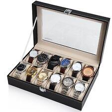 Black Leather 12 Watch Box Case Organizer Display Storage Tray for Men & Women