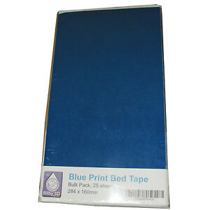 25 x 3D printing Blue Tape pre cut sheets for Replicator 1, 2, 2X