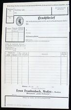 Historisches Dokument Frachtbrief Ernst Frankenbach Brauerei 1912 Mudau Baden