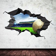 3D FOOTBALL COULEUR COMPLÈTE fissuré STADE Art mural autocollant décalque Garçon