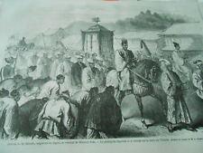 Gravure 1869 - Japon le Mikado empereur du Japon Le Palanquin impérial