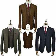 Mens Designer Tweed Check Blazer Waistcoat Trousers Sold Separate 3 Piece Suit