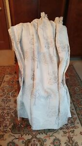 """Nice pair of Ivory Gold and Silver Bellfield Silky curtains 90"""" w x 53"""" d"""