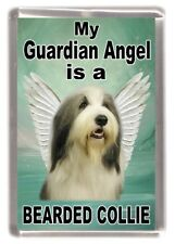 """Bearded Collie Dog Fridge Magnet """"My Guardian Angel is a ....."""" by Starprint"""