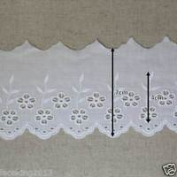"14Yds Embroidery scalloped cotton eyelet lace trim 2.8"" YH868 laceking2013"