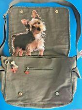 "FUZZY NATION YORKIE Dog Crossbody Laptop Purse Canvas Bag 16"" Large Excellent"