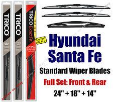 Wiper Blades 3pk Front Rear fit 2007-2012 Hyundai Santa Fe Santafe 30240/180/14A