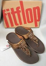 Fitflop Rumba Toe Thong Sandals Leather Bronze Brown Tassel Toe Post Box Size 8