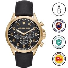 New Michael Kors Mens Watch Gage Gold Tone Steel Black Dial Leather Strap MK8618