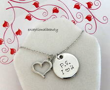 P.S. I Heart love You Antiqued Silver 2 pc Pendant Chain Necklace