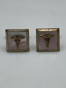 Vintage Military Cuff Link Field Medic Nurse Emblim Gold Irridescent White Rare