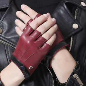 women  cute bow short real sheep leather driving gloves black burgundy