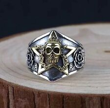 Solid 925 Sterling Silver Stamped Mens Heavy Skull Star Ring Adjustable Size