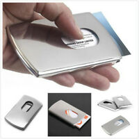 Thumb Slide Out Stainless Steel Pocket Business ID Credit Card Holder Case Cover