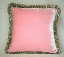 large solid pink silk velvet decorative throw pillows with fringe for couch