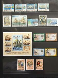1990s NORFOLK ISLANDS SHIP STAMPS & MINISHEET - MARITIME HERITAGE - MNH - (CH70)