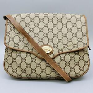 GUCCI PLUS Vintage GG Pattern PVC Canvas Shoulder Bag Brown Beige JUNK