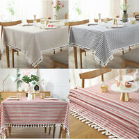 Stripe Tassel Tablecloth Dust-proof Table Cover for Kitchen Dinning Tabletop Dec