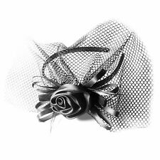 Moliabal Womens Headband in Black W/ Black Rose and Veil MSRP $30