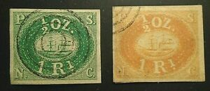 pair early Peru private Pacific Steam Navigation mail stamp proof