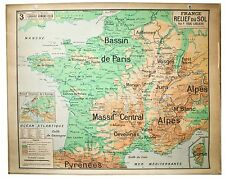 LARGE FRENCH SCHOOL Aid Geographic MAP OF FRANCE MID CENTURY industrial style