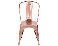 Tolix Style Dining Chair Shiny Rose Gold Copper Stackable Industrial Kitchen