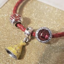"""Pandora Red Leather Woven """"Belle's"""" Charm Bracelet 18 cm Beauty and the Beast x3"""