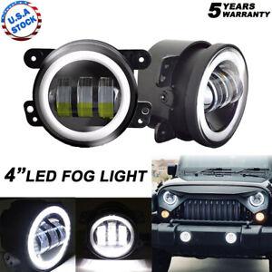 4inch Round LED Fog Lights Halo Angel Driving Lamp for JK TJ Jeep Wrangler 97-17