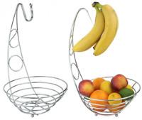 Chrome 2 In 1 Banana Hook Hanger Fruit Basket Bowl Dinning Table Fruit Stand New