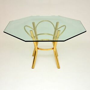 ITALIAN RETRO BRASS & GLASS DINING TABLE VINTAGE 1970's