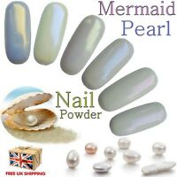 Mermaid Pigment Pearl Effect Nail Powder Chrome Shimmer Iridescent 6 Colours
