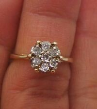 STUNNINING 14K YG LADIES DIAMOND CLUSTER RING .21 tcw SZ 6.25 A10303-2  3.30 grm