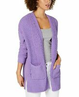Style & Co Sweater Chenille Openfront Cardigan Purple S