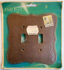 Vintage New LIGHT TOUCH Double SWITCH PLATE Angelo GENUINE WOOD BIRCH 2-Gang