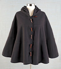 Womens Fleece Hooded Batwing Cape Camel Charcoal Poncho Cloak Coat Jacket Gift