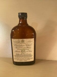 """Vintage Hiram Walker & Sons Limited Canadian Club Whiskey Amber Bottle 8"""" Tall"""