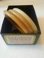 Set of Buch+Deichmann B+D Vintage Plastic Nylon Bangles by Ketty Dalsgaard ~ Tan