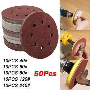"50X - 5"" 8 holes Sanding Paper Discs 40-240 Grit Orbital Round Sander Pads 125mm"